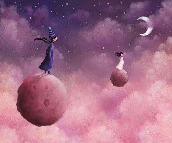 hombre-y-mujer-subidos-en-planetas-separados